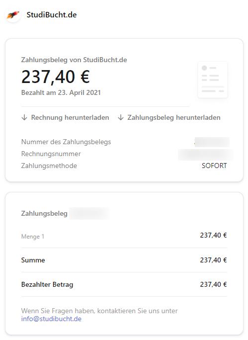 Nachweis der Zahlung per Kreditkarte